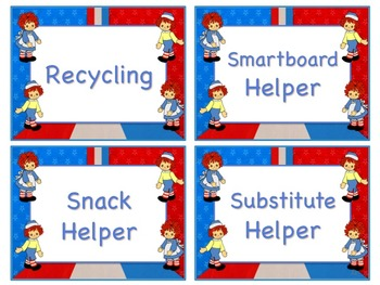 Raggedy Ann & Andy Theme Job Chart Cards - Great for Classroom Management!!!