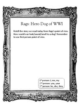 Rags: Hero Dog of WWI Point of View Writing Activity