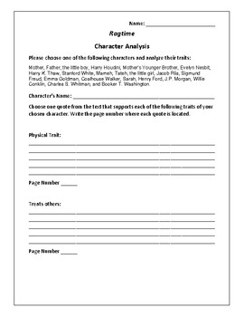 Ragtime - Character Analysis Activity - E.L. Doctorow