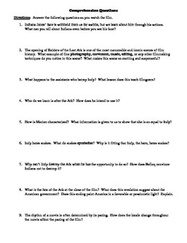Raiders of the Lost Ark Film (1981) Study Guide Movie Packet