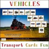 Rail Transport, Railway vehicles, Transportation, Montessori 3-Part Cards