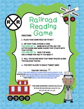 Railroad Reading Train Center Game:  Letter Sounds and CVC Words
