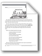 Railroad Songs (Nonfiction/One verse and chorus of a song)