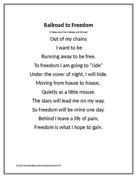 Railroad to Freedom- A Poem about the Underground Railroad