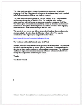 Railroads in the Civil War in 4 Minutes Video Worksheet