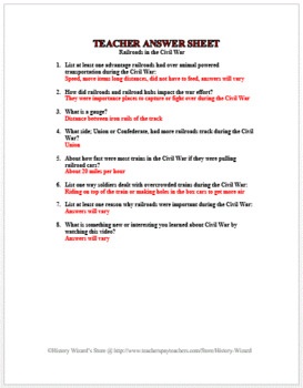 Railroads in the Civil War in 4 Minutes Video Worksheet