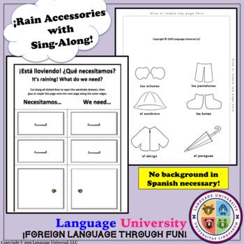 Spanish Rain Accessories Worksheet!
