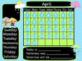 Rain April Interactive Flipchart Calendar for Promethean Board