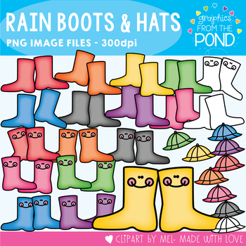 Rain Boots and Hats - Graphics Clipart for Teachers