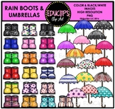 Rain Boots and Umbrellas Clip Art Bundle {Educlips Clipart}