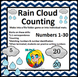 Preschool Rain Cloud Counting File Folder Game