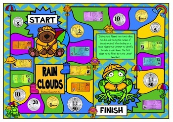 Rain Cloud Money Recognition Board Game - Australian Currency