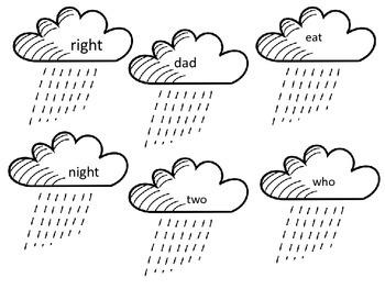 Rain Cloud Sight Words