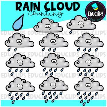 Rain Clouds Counting Clip Art Bundle  {Educlips Clipart}