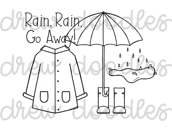 Weather Doodles 1 Digital Clip Art Set- Black Line Version