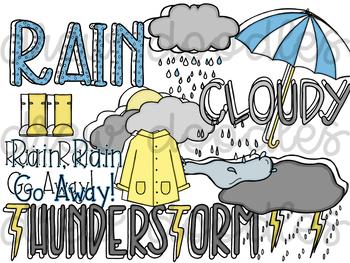 Weather Doodles 1 Digital Clip Art Set- Black Line and Color COMBO