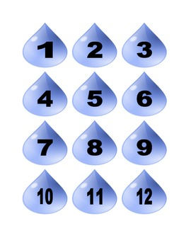 Rain Drop Numbers for Calendar or Math Activity