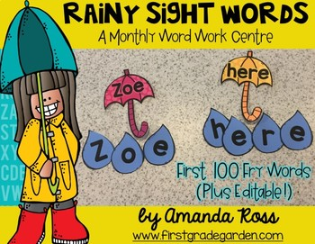 Rain Drop Sight Words: A Monthly Word Work Centre {Editable}