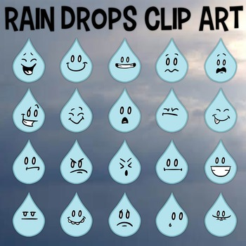 Rain Drops Clip Art, Four Seasons, Rain Emojis, Facial Expressions