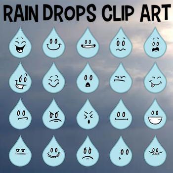Rain Drops Clip Art, Four Seasons, Rain Emojis, Facial Exp