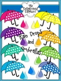 Rain Drops and Umbrellas Clip Art