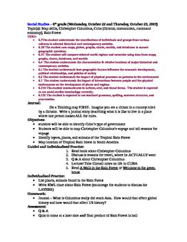 Rain Forest 10 Day Unit Lesson Plans
