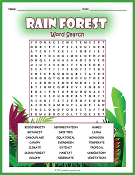 Tropical Rainforest Word Search Puzzle By Puzzles To Print