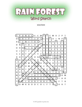 Tropical Rainforest Word Search Puzzle