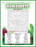 RAINFOREST Word Search Puzzle Worksheet Activity