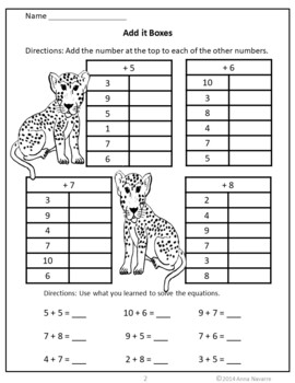 Rain Forest Animal Add and Subtract it Boxes