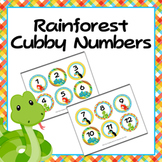 Rain Forest Animals Cubby Number Labels 1-30