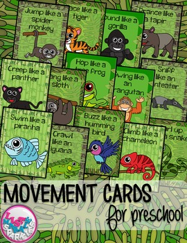 Rain Forest Animals Movement Cards for Preschool