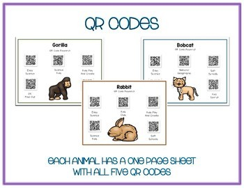 Rainforest Animals - Research w QR Codes, Posters, Organizer - 25 Pack