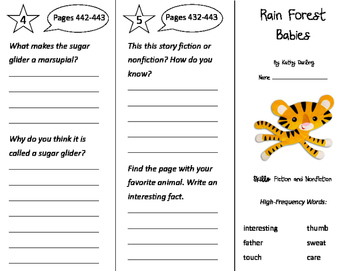 Rain Forest Babies Trifold - Storytown 2nd Grade Unit 3 Week 4
