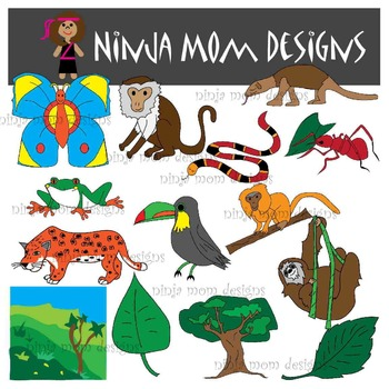Rain Forest Clip Art in Color and Black Line