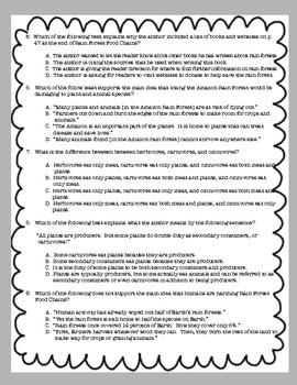 Rain Forest Food Chains Comprehension Test Standardized Test Style ReadyGen Gr 5