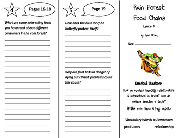 Rain Forest Food Chains Trifold - ReadyGen 2016 5th Grade Unit 1 Module B