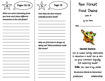 Rain Forest Food Chains Trifold - ReadyGen 5th Grade Unit 1 Module B
