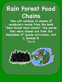 ReadyGen Rain Forest Food Chains Vocabulary Word Wall Cards Unit 1 Module B