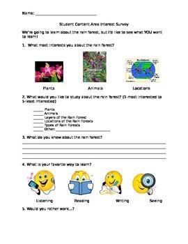 Rain Forest Interest Survey