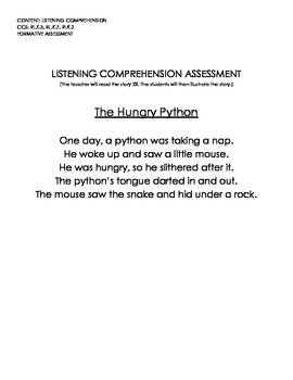 The Hungry Python (Listening Comprehension Assessment w/Rubric)