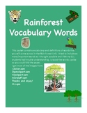 Rain Forest Vocabulary Word Wall Cards