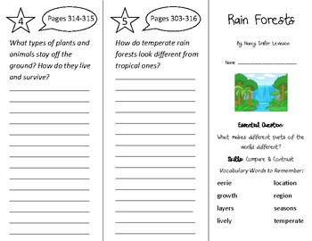 Rain Forests Trifold - Wonders 2nd Grade Unit 4 Week 1