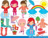 Rain Girl Clip Art SCHOOL coloring rainy day weather kawaii face ainbow-088-