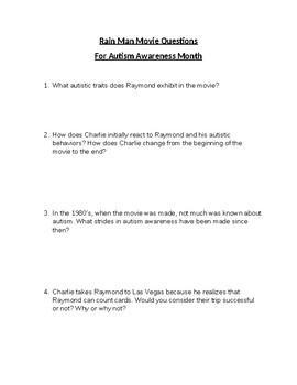Rain Man Movie Autism Awareness Month Questions