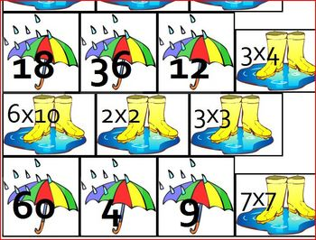 Rain Multiplication Math Matching for Pocket Chart or File Folder Game