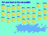 Rain Puddle and Boots Smartboard Attendance