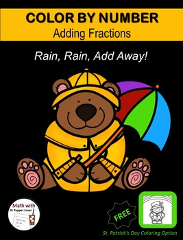 Color by Number Fraction Pages: Rain, Rain Add Away