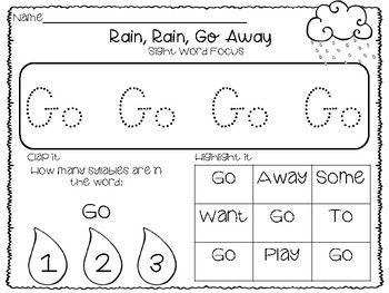 Rain, Rain, Go Away - Activity Pack