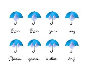 Rain Rain Go Away Beat Chart and Rhythm Notation Dictation